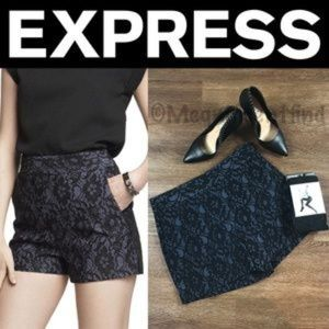 ✨NWT✨Express Blue Lace Bonded High Waisted Shorts